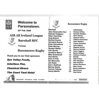 2007/08 Barnhall v Buccaneers AIB All Ireland League Rugby Union Programme