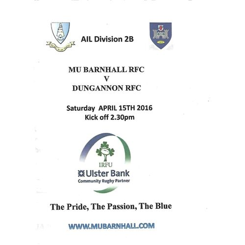 2016 Barnhall v Dungannon AIL Division 2B Rugby Union Programme