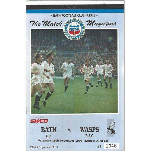 1993/94 Bath v Wasps (18/12/1993) Rugby Union Programme