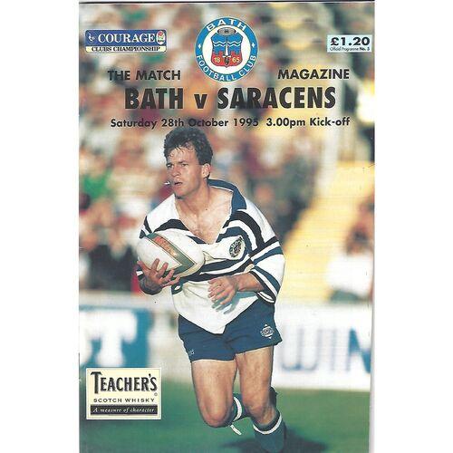 1995/96 Bath v Saracens (28/10/1995) Rugby Union Programme