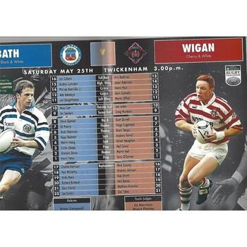 1996 Bath v Wigan Save & Prosper Rugby Challenge (23/05/1996) Rugby Union/Rugby League Programme
