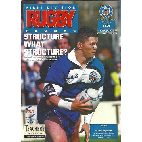 1996/97 Bath v Harlequins 07/12/1996) Rugby Union Programme