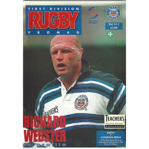 1996/97 Bath v London Irish (21/12/1996) Pilkington Cup Rugby Union Programme