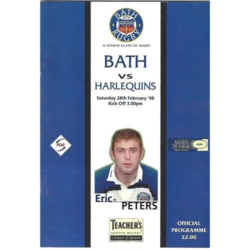 1997/98 Bath v Harlequins (28/02/1998) Rugby Union Programme
