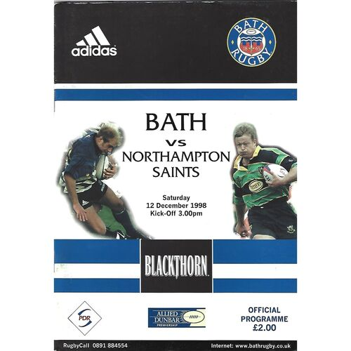 1998/99 Bath v Northampton Saints (12/12/1998) Rugby Union Programme