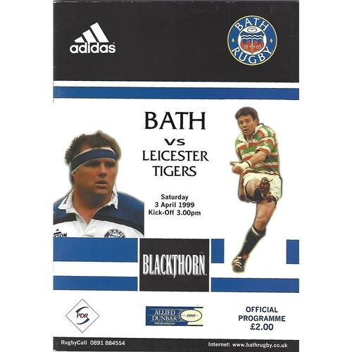 1998/99 Bath v Leicester Tigers (03/04/1999) Rugby Union Programme