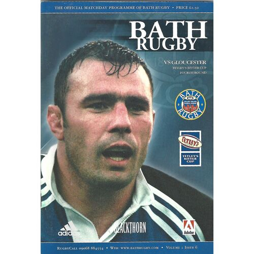 2000/01 Bath v Gloucester Tetley's Bitter Cup Fourth Round Rugby Union Programme