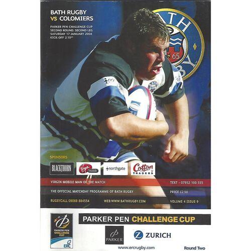 2003/04 Bath v Colomiers (17/01/2004) Parker Pen Challenge Cup Second Round Second Leg Rugby Union Programme