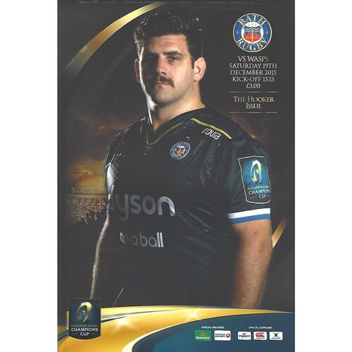 2015/16 Bath v Wasps (19/12/2015) European Rugby Champions Cup Rugby Union Programme