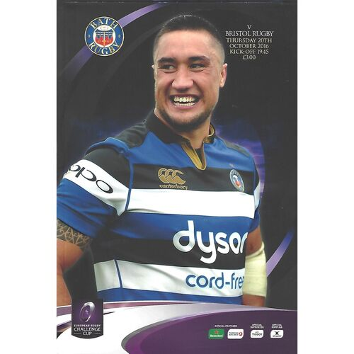 2016/17 Bath v Bristol (20/10/2016) European Rugby Champions Cup Rugby Union Programme