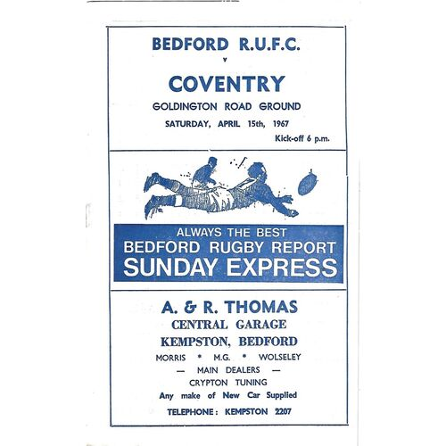 1966/67 Bedford v Coventry (15/04/1967) Rugby Union Programme