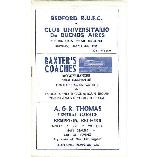 1968/69 Bedford v Club Universitario De Buenos Aires (04/03/1969) Rugby Union Programme