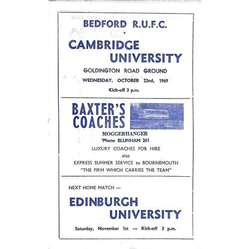 1969/70 Bedford v Cambridge University (22/10/1969) Rugby Union Programme