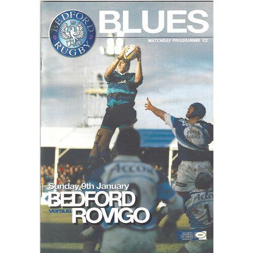 1999/00 Bedford Blues v Rovigo (09/01/2000) European Shield Group Game Rugby Union Programme