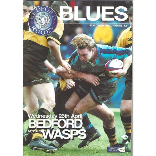 1999/00 Bedford Blues v Wasps (26/04/2000) Rugby Union Programme