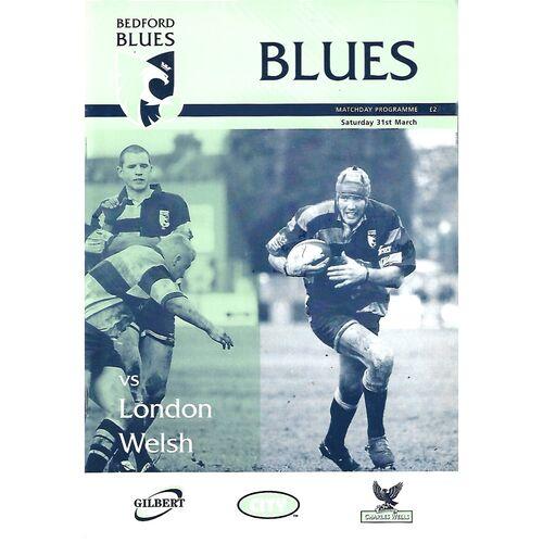 2000/01 Bedford Blues v London Welsh (31/03/2001) Rugby Union Programme