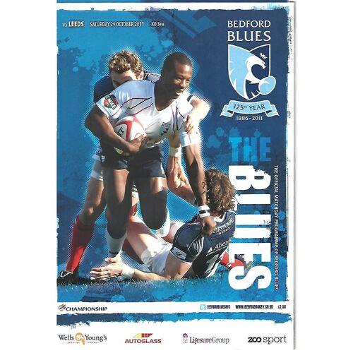 2011/12 Bedford Blues v Leeds Carnegie (29/10/2011) Rugby Union Programme