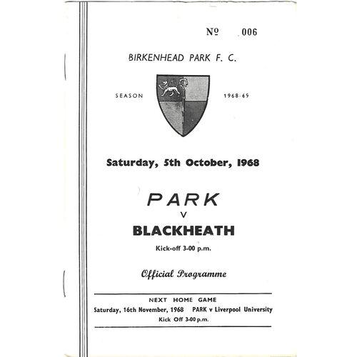 1968/69 Birkenhead Park v Blackheath (05/10/1968) Rugby Union Programme