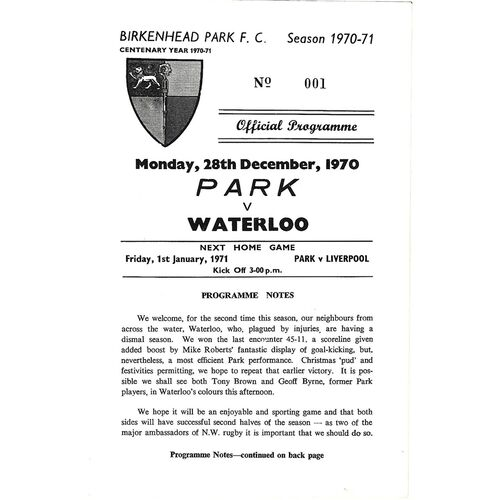 1970/71 Birkenhead Park v Waterloo (28/12/1970) Rugby Union Programme