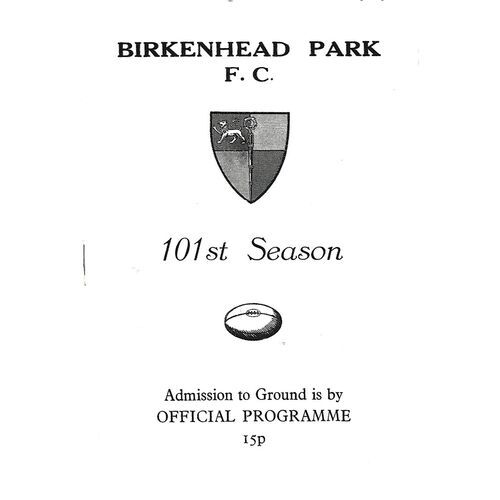1972/73 Birkenhead Park v Durham City (17/02/1973) Rugby Union Programme