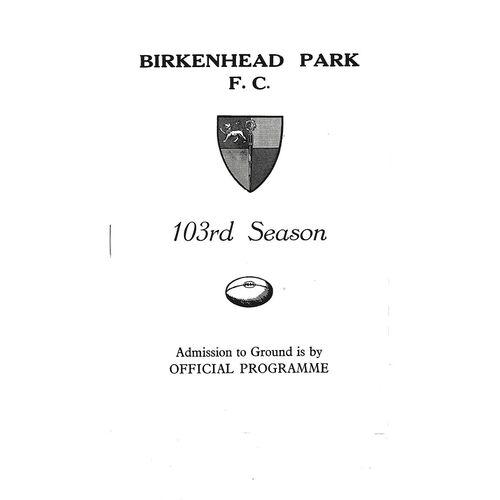 1974/75 Birkenhead Park v Morley (04/01/1975) Rugby Union Programme