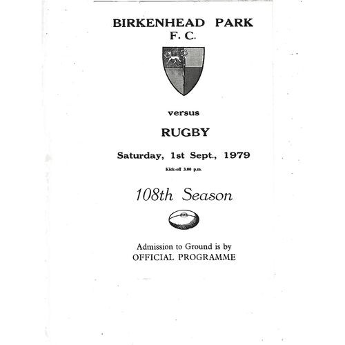 1979/80 Birkenhead Park v Rugby (01/09/1979) Rugby Union Programme