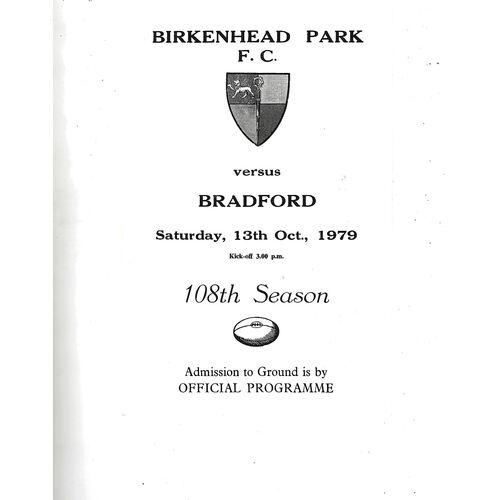 1979/80 Birkenhead Park v Bradford (13/10/1979) Rugby Union Programme