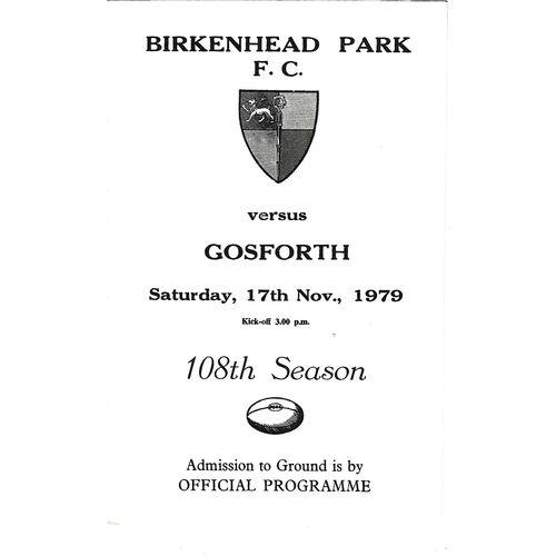 1979/80 Birkenhead Park v Gosforth (17/11/1979) Rugby Union Programme