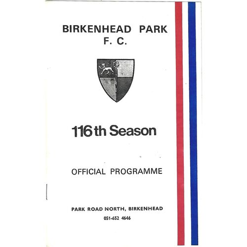 1986/87 Birkenhead Park v London Scottish (20/12/1986) Rugby Union Programme