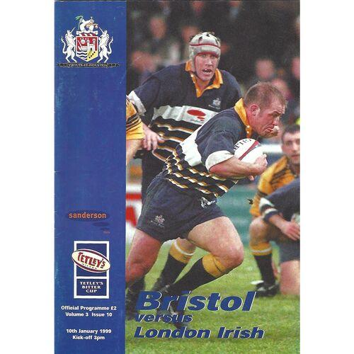 1998/99 Bristol v London Irish (10/01/1999) Rugby Union Programme