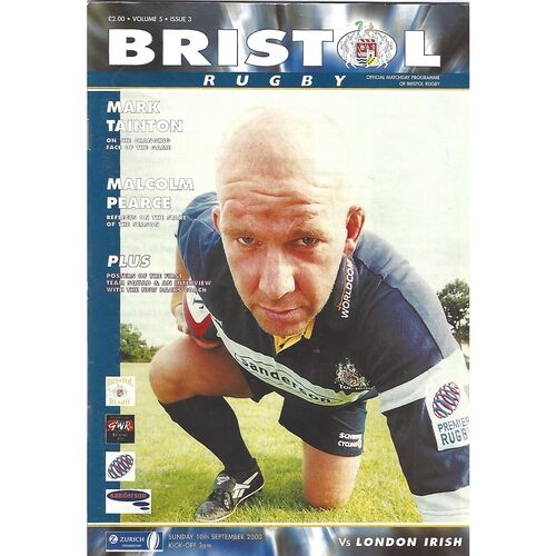 2000/01 Bristol v London Irish (10/09/2000) Rugby Union Programme & Newsletter