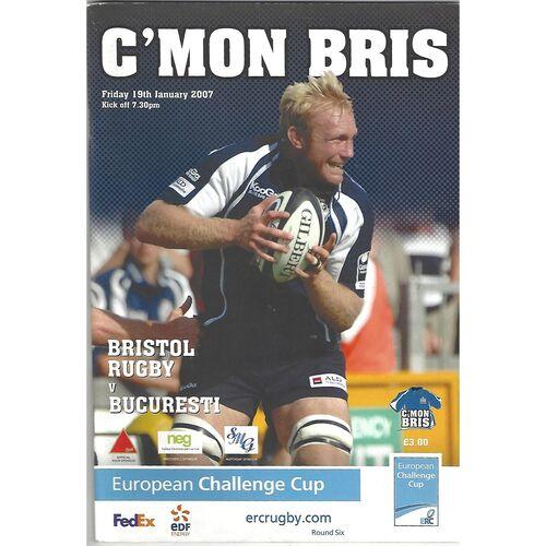 2006/07 Bristol v Bucuresti European Challenge Cup Pool Match (19/01/2007) Rugby Union Programme