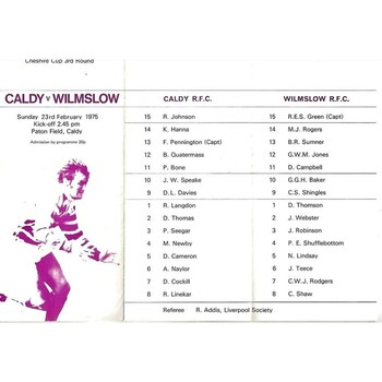 1974/75 Caldy v Wilmslow Cheshire Cup 3rd round (23/02/1975) Rugby Union Programme