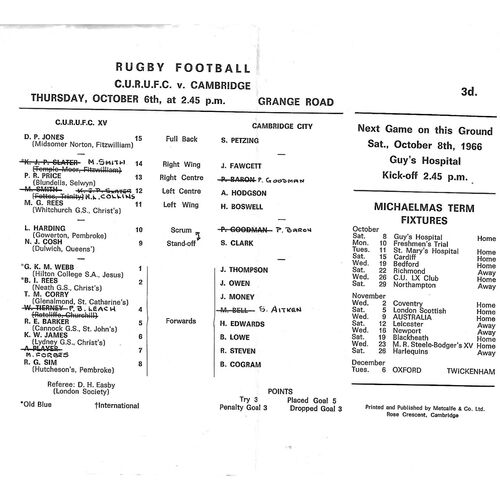 1966/67 Cambridge University v Cambridge (06/10/1966) Rugby Union Programme