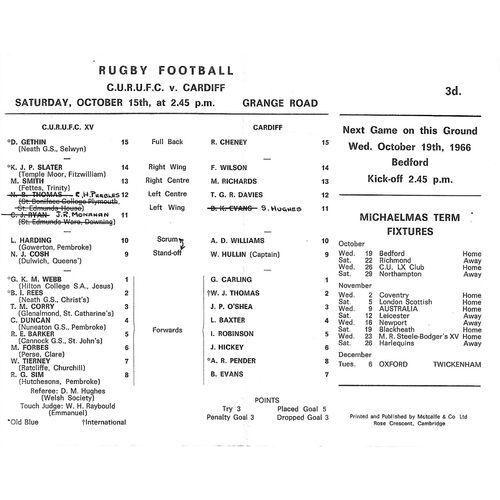 1966/67 Cambridge University v Cardiff (15/10/1966) Rugby Union Programme