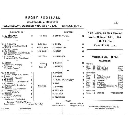 1966/67 Cambridge University v Bedford (19/10/1966) Rugby Union Programme