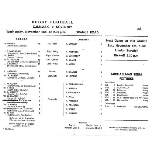 1966/67 Cambridge University v Coventry (02/11/1966) Rugby Union Programme