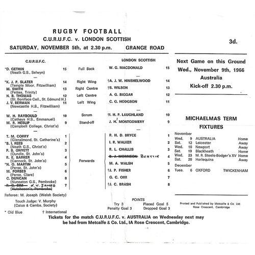 London Scottish Away Rugby Union Programmes