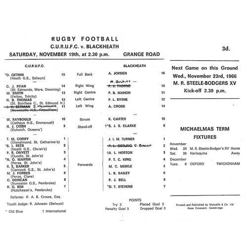 1966/67 Cambridge University v Blackheath (19/11/1966) Rugby Union Programme