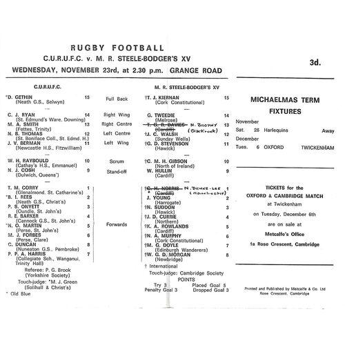 1966/67 Cambridge University v M.R Steele-Bodger's XV (23/11/1966) Rugby Union Programme