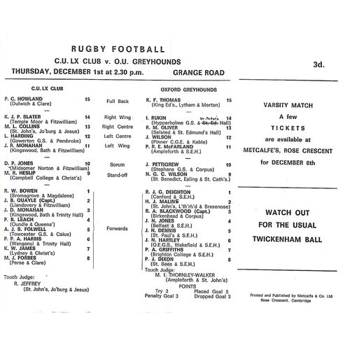 1966/67 Cambridge University LX Club v Oxford University Greyhounds (01/12/1966) Rugby Union Programme