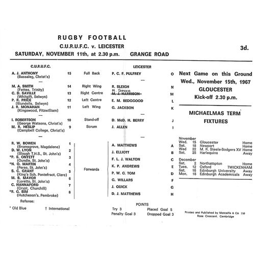 1967/68 Cambridge University v Leicester (11/11/1967) Rugby Union Programme