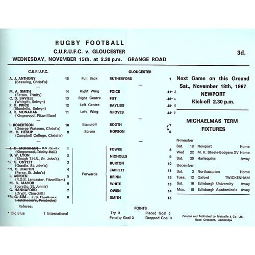 1967/68 Cambridge University v Gloucester (15/11/1967) Rugby Union Programme
