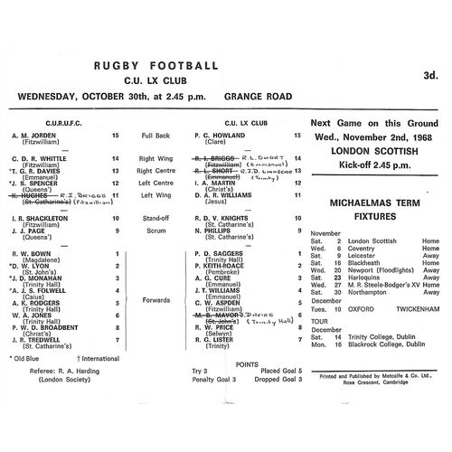 1968/69 Cambridge University v Cambridge University LX Club (30/10/1968) Rugby Union Programme