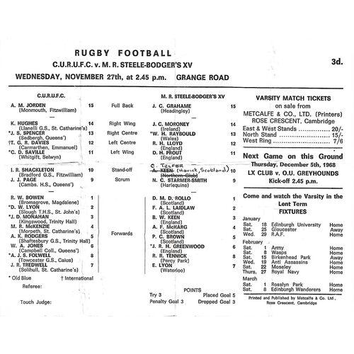 1968/69 Cambridge University v M.R Steele-Bodger's XV (27/11/1968) Rugby Union Programme