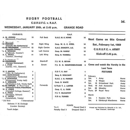 Royal Air Force Away Rugby Union Programmes