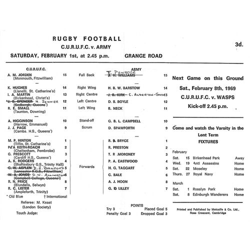 1968/69 Cambridge University v Army (01/02/1969) Rugby Union Programme