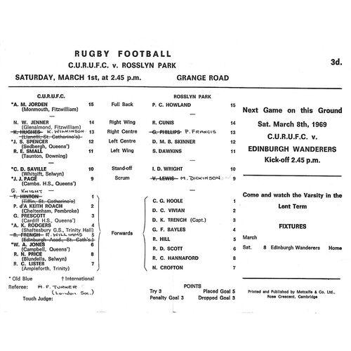 1968/69 Cambridge University v Rosslyn Park (01/03/1969) Rugby Union Programme