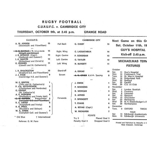 1969/70 Cambridge University v Cambridge City (09/10/1969) Rugby Union Programme