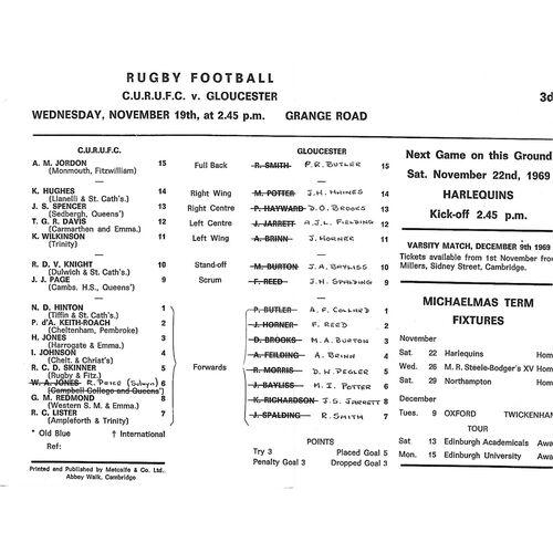 1969/70 Cambridge University v Gloucester (19/11/1969) Rugby Union Programme